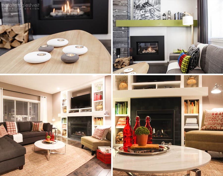 Cosy Fireplaces by Calgary Interior Designer