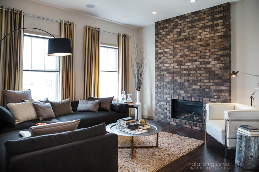 Stripes Brick Metal Industrial Modern Living Room By Calgary Interior Designer Natalie