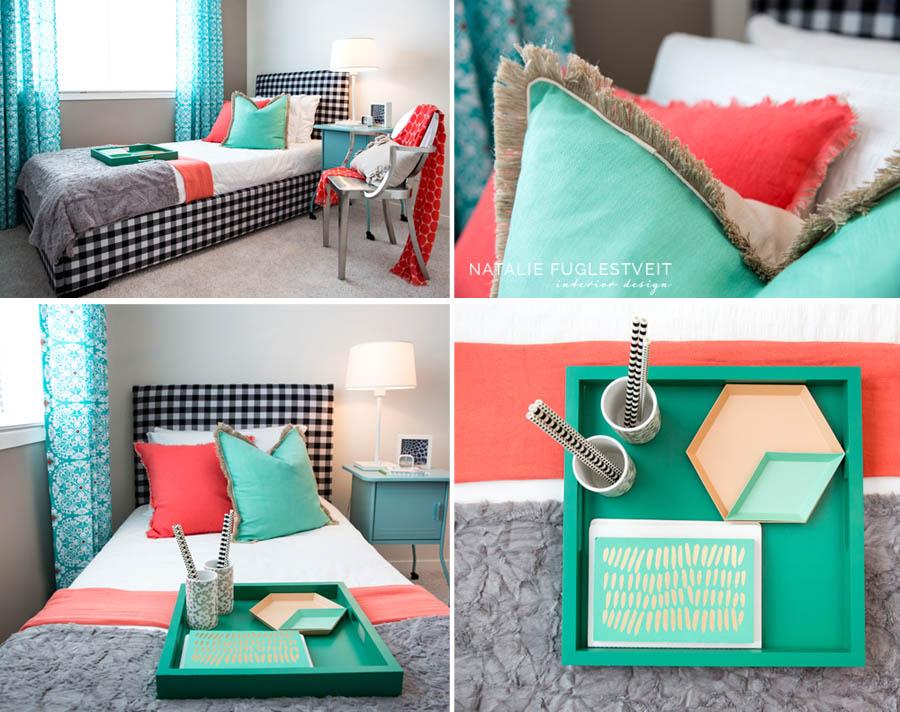Black & White Gingham Bed by Calgary Interior Designer 2