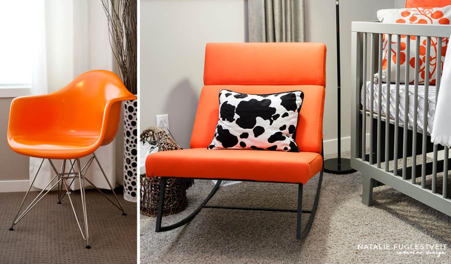 Orange Chairs by Calgary Interior Designer