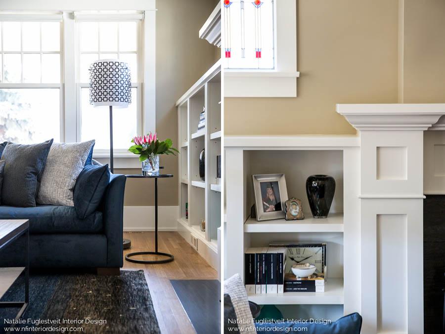 Blue Serene Living Room by Calgary Interior Designer