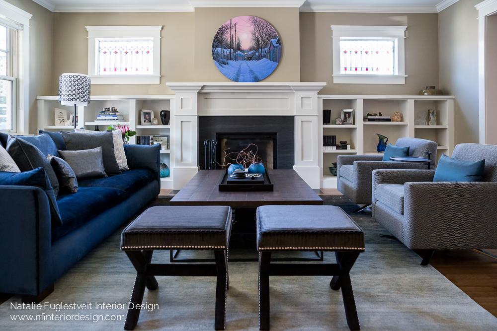 A blue serene living room by calgary interior design firm for Interior designs red deer