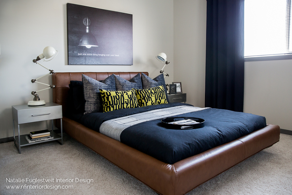Industrial Streetside Master Bedroom by Calgary Interior Designer