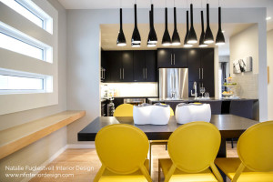 Modern Black Yellow Kitchen Dining Room And Bathrooms By Calgary Interior Designer