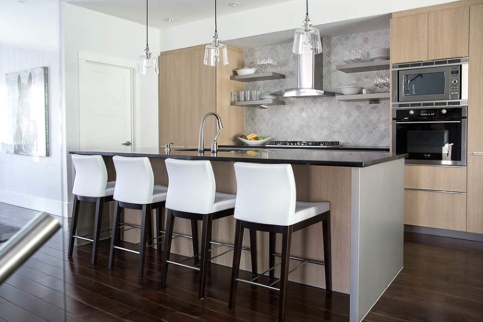 To Design For This Space NFID Worked On Balancing Out Light And Dark Tones Between The Cabinets Flooring Black Splash Complimenting