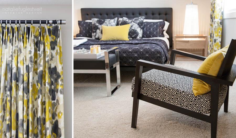 A Modern Black & Blond Interior Master Bedroom by Calgary Interior Designer