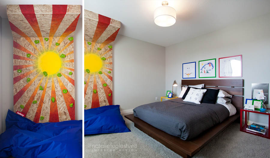 Boys RM with Climbing Wall by Calgary Interior Designer
