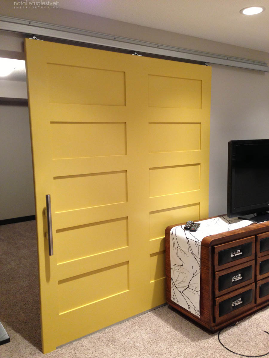 Yellow Barn Door by Calgary Interior Designer