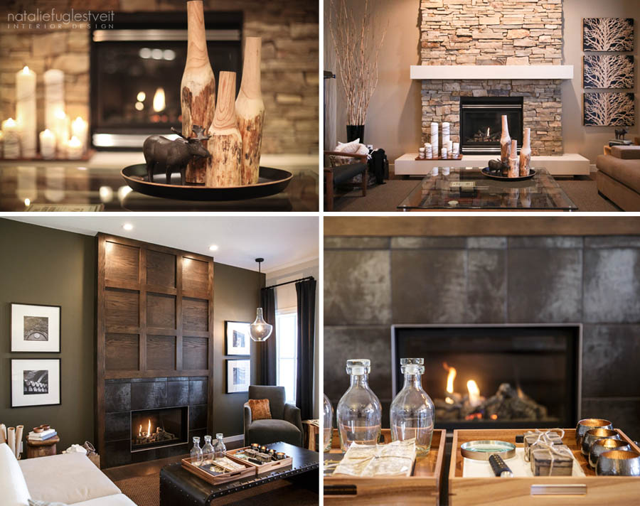 Cosy Fireplaces by Calgary Interior Designer