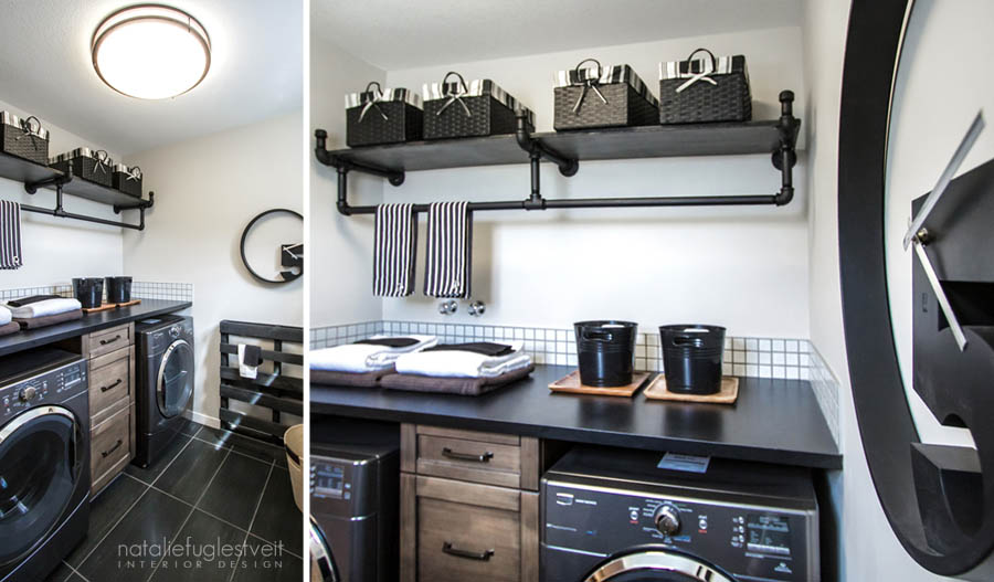 Industrial Laundry Room by Calgary Interior Designer