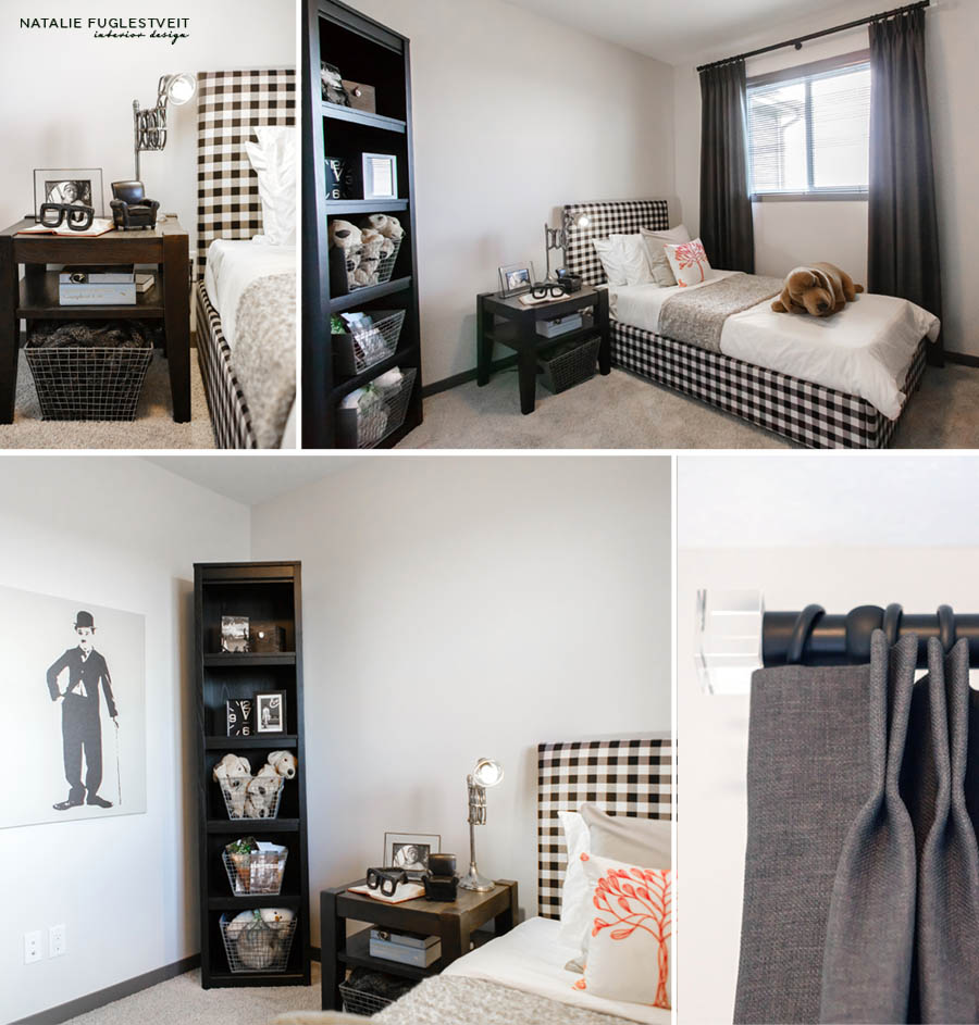 Black & White Gingham Bed by Calgary Interior Designer 3