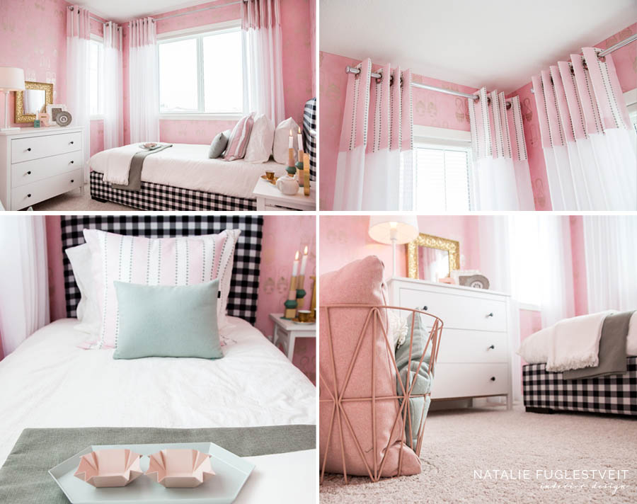 Black & White Gingham Bed by Calgary Interior Designer, Natalie Fuglestveit Interior Design