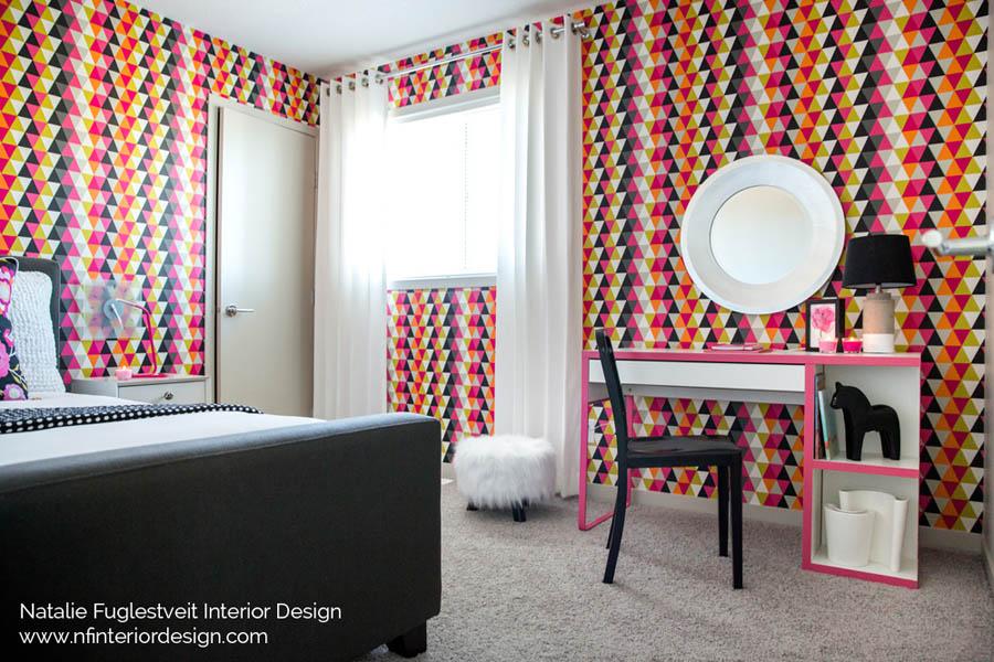 Vibrant Girls Bedroom by Calgary Interior Designer 3