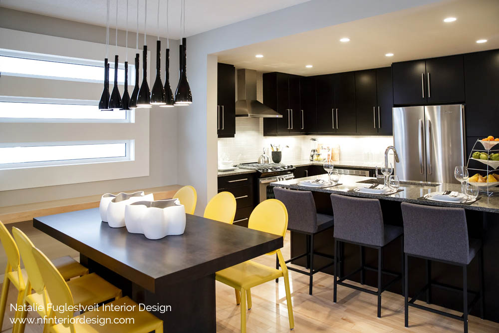 Modern Black And Yellow By Calgary Interior Designer